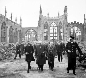 Winston Churchill visiting the ruins of Coventry Cathedral in September 1941